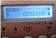 Ready message showing on printer display