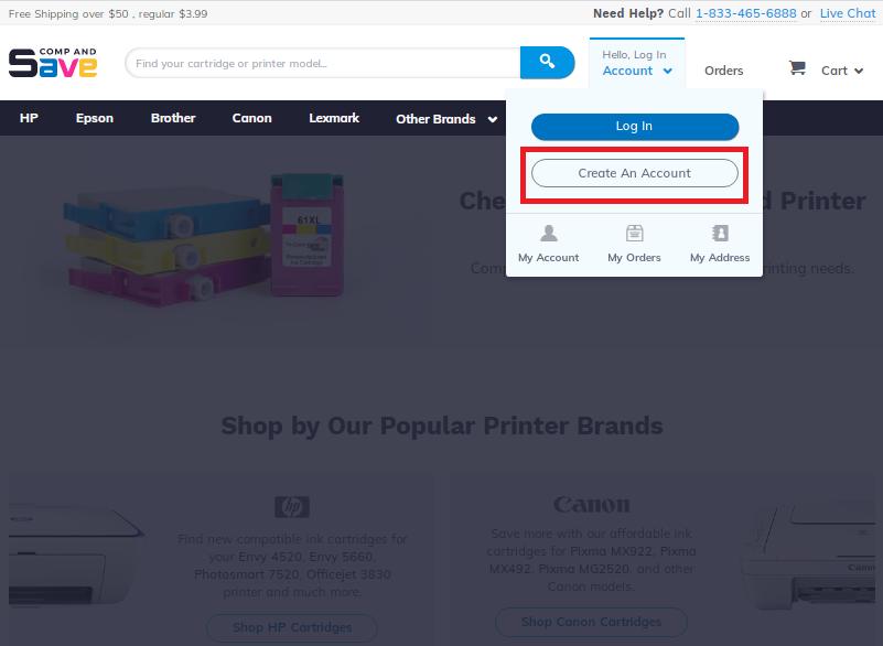 Screenshot of Create An Account button on login menu