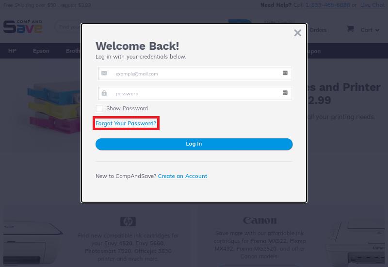 Screenshot of login form pop up