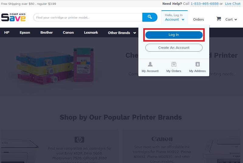 Screenshot of login menu