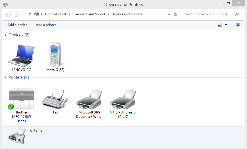 Image of Windows Devices and Printers control panel