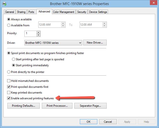 Image of Advanced tab menu on Properties Settings