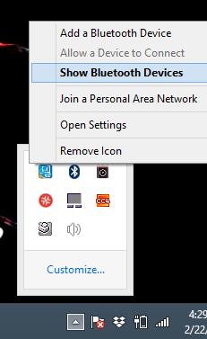 Image of Show Bluetooth Devices option menu